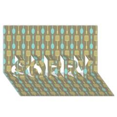 Spatula Spoon Pattern SORRY 3D Greeting Card (8x4)