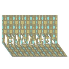 Spatula Spoon Pattern ENGAGED 3D Greeting Card (8x4)