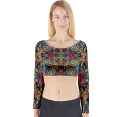Magnificent Kaleido Design Long Sleeve Crop Top