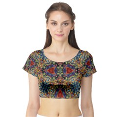 Magnificent Kaleido Design Short Sleeve Crop Top