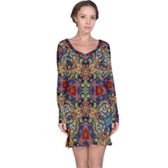 Magnificent Kaleido Design Long Sleeve Nightdresses