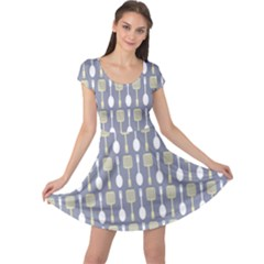 Spatula Spoon Pattern Cap Sleeve Dresses