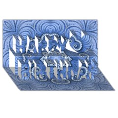 Awesome Kaleido 07 Blue Happy Birthday 3D Greeting Card (8x4)