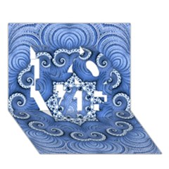 Awesome Kaleido 07 Blue Love 3d Greeting Card (7x5)