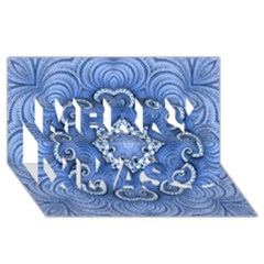 Awesome Kaleido 07 Blue Merry Xmas 3d Greeting Card (8x4)