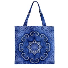 Awesome Kaleido 07 Blue Zipper Grocery Tote Bags