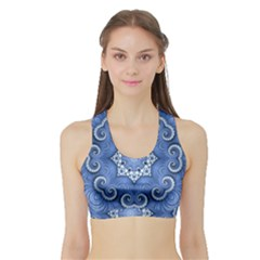 Awesome Kaleido 07 Blue Women s Sports Bra with Border