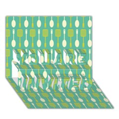 Spatula Spoon Pattern You Are Invited 3d Greeting Card (7x5)