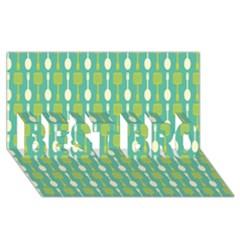 Spatula Spoon Pattern BEST BRO 3D Greeting Card (8x4)