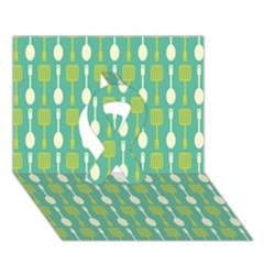 Spatula Spoon Pattern Ribbon 3D Greeting Card (7x5)