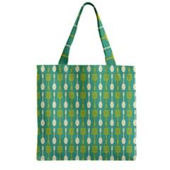 Spatula Spoon Pattern Zipper Grocery Tote Bags
