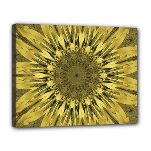 Kaleido Flower,golden Canvas 14  x 11