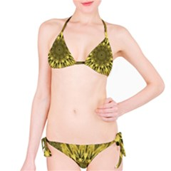 Kaleido Flower,golden Bikini Set