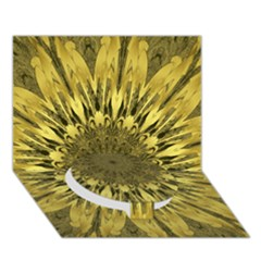 Kaleido Flower,golden Circle Bottom 3D Greeting Card (7x5)