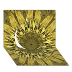 Kaleido Flower,golden Circle 3D Greeting Card (7x5)