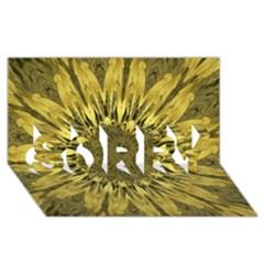 Kaleido Flower,golden SORRY 3D Greeting Card (8x4)