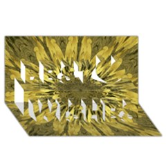 Kaleido Flower,golden Best Wish 3d Greeting Card (8x4)