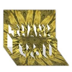 Kaleido Flower,golden THANK YOU 3D Greeting Card (7x5)