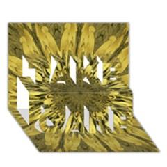 Kaleido Flower,golden TAKE CARE 3D Greeting Card (7x5)