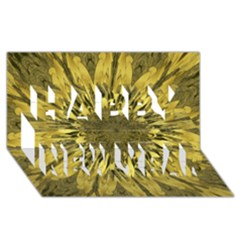 Kaleido Flower,golden Happy New Year 3d Greeting Card (8x4)