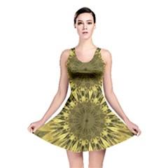 Kaleido Flower,golden Reversible Skater Dresses