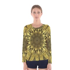 Kaleido Flower,golden Women s Long Sleeve T-shirts