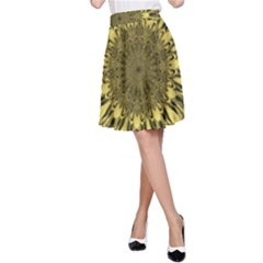 Kaleido Flower,golden A-Line Skirts
