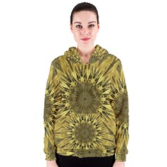 Kaleido Flower,golden Women s Zipper Hoodies