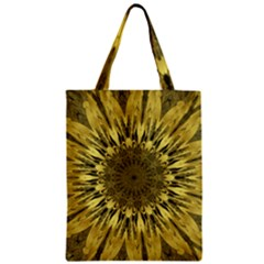 Kaleido Flower,golden Zipper Classic Tote Bags