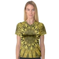 Kaleido Flower,golden Women s V-Neck Sport Mesh Tee