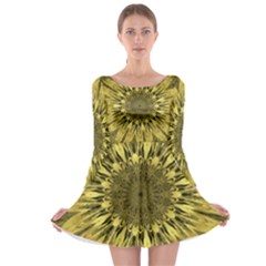 Kaleido Flower,golden Long Sleeve Skater Dress