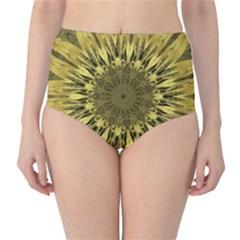 Kaleido Flower,golden High-Waist Bikini Bottoms