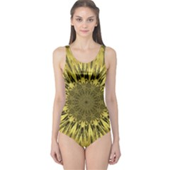 Kaleido Flower,golden Women s One Piece Swimsuits
