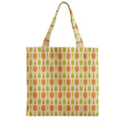 Spatula Spoon Pattern Zipper Grocery Tote Bags
