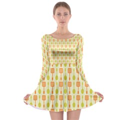 Spatula Spoon Pattern Long Sleeve Skater Dress