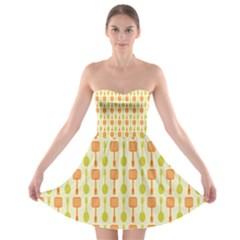Spatula Spoon Pattern Strapless Bra Top Dress