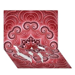 Awesome Kaleido 07 Red LOVE Bottom 3D Greeting Card (7x5)