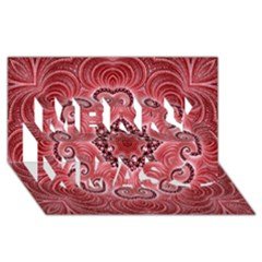 Awesome Kaleido 07 Red Merry Xmas 3d Greeting Card (8x4)
