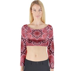 Awesome Kaleido 07 Red Long Sleeve Crop Top
