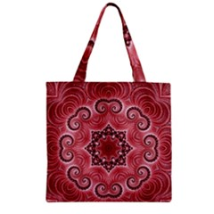 Awesome Kaleido 07 Red Zipper Grocery Tote Bags