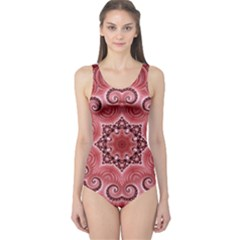 Awesome Kaleido 07 Red Women s One Piece Swimsuits