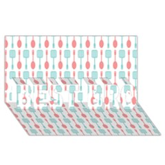 Spatula Spoon Pattern BEST BRO 3D Greeting Card (8x4)