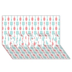 Spatula Spoon Pattern Party 3d Greeting Card (8x4)
