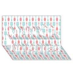 Spatula Spoon Pattern Best Wish 3D Greeting Card (8x4)