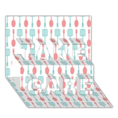 Spatula Spoon Pattern TAKE CARE 3D Greeting Card (7x5)
