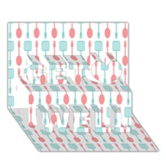 Spatula Spoon Pattern Get Well 3d Greeting Card (7x5)