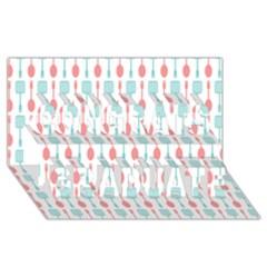 Spatula Spoon Pattern Congrats Graduate 3d Greeting Card (8x4)
