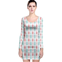 Spatula Spoon Pattern Long Sleeve Bodycon Dresses