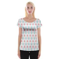 Spatula Spoon Pattern Women s Cap Sleeve Top