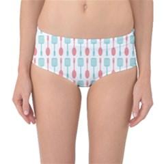 Spatula Spoon Pattern Mid-Waist Bikini Bottoms